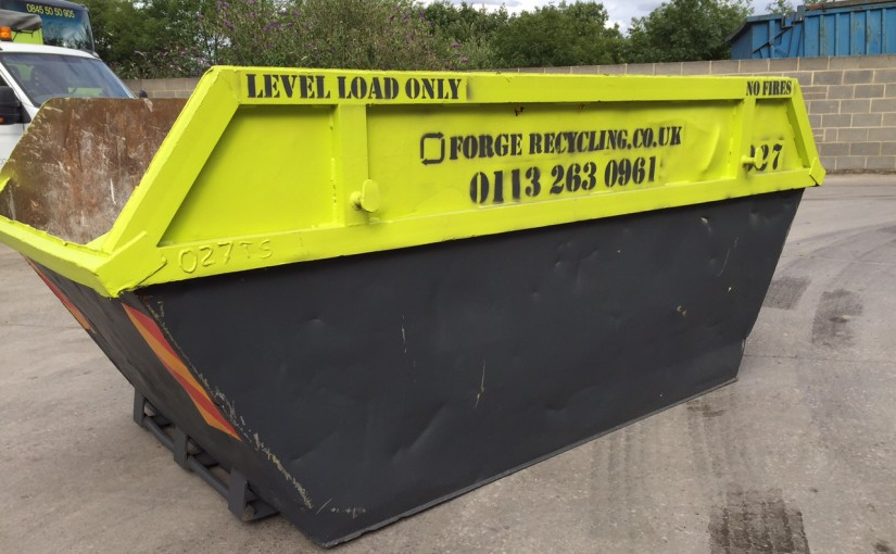 Photograph of the lime green Forge Waste & Recycling skips