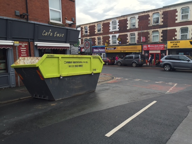 Community skip placed on Kirkstall Road to help flood clear up