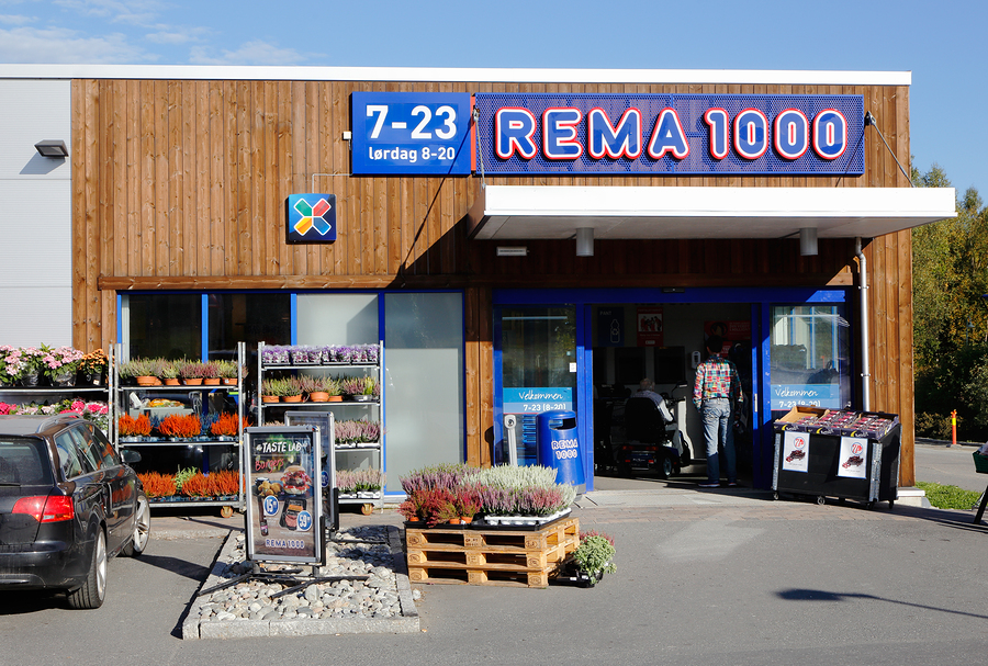 Rema 1000: Denmark's biggest low-cost supermarket chain. Image credit: Fotonen