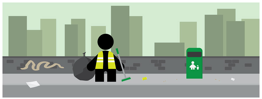 litter picking in the city