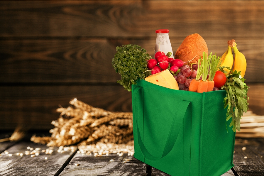 Groceries in a reusable shopping bag