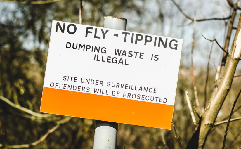 Illegal waste dumping sign