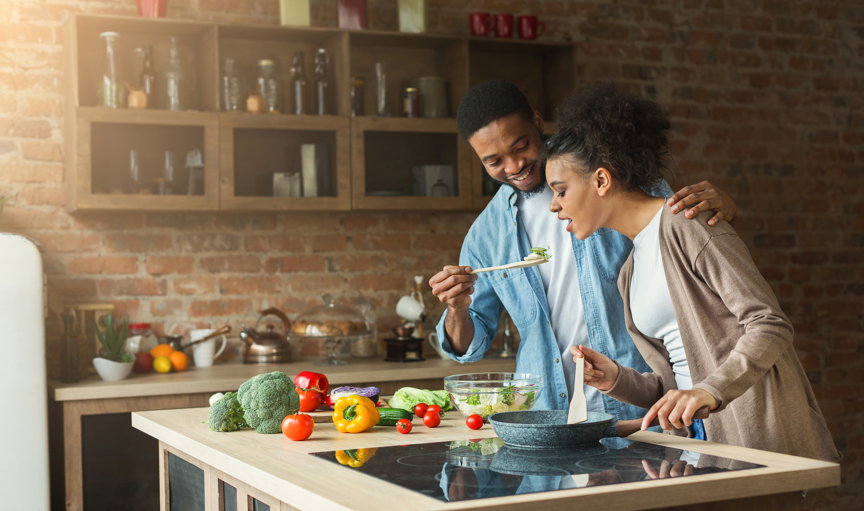 Couple cooking together on Valentine's Day