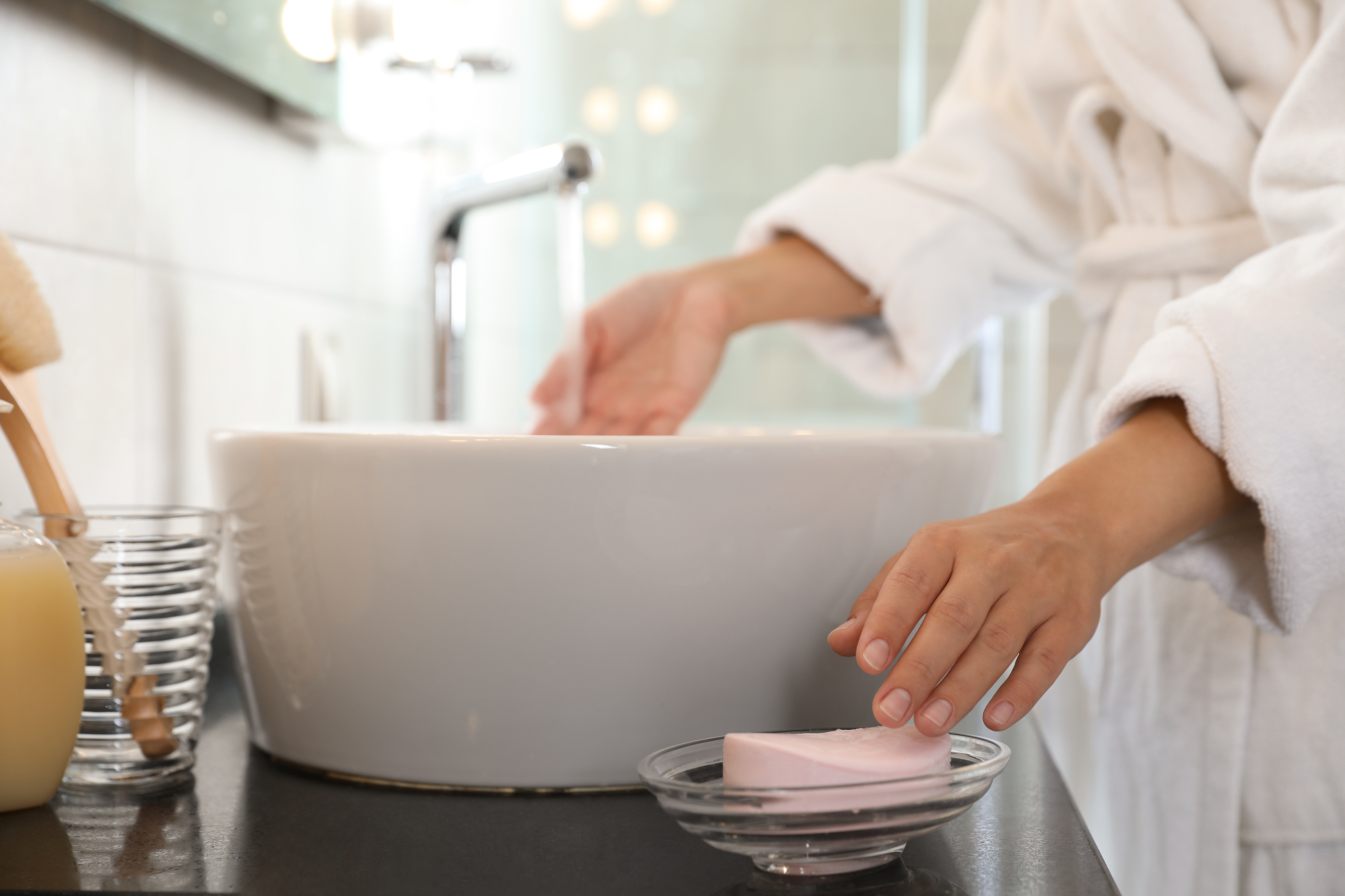 washing hands with bar soap