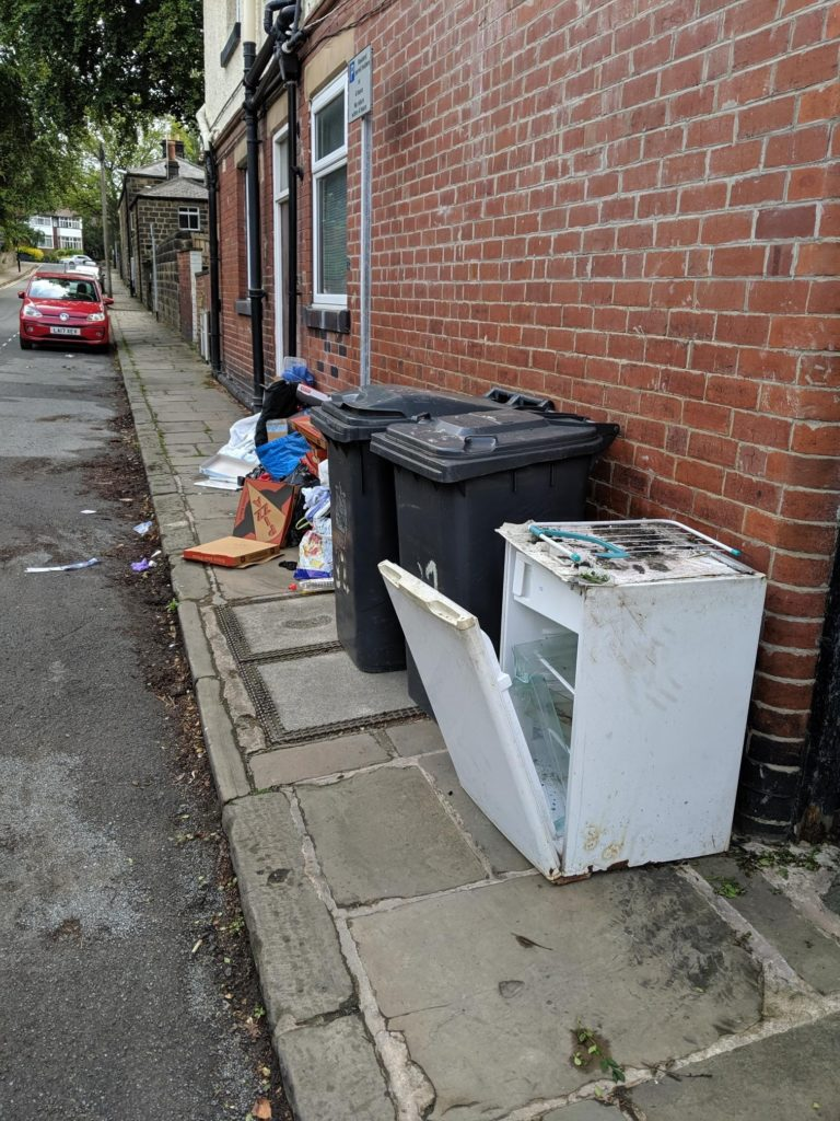 Fly-tipping by students in Leeds