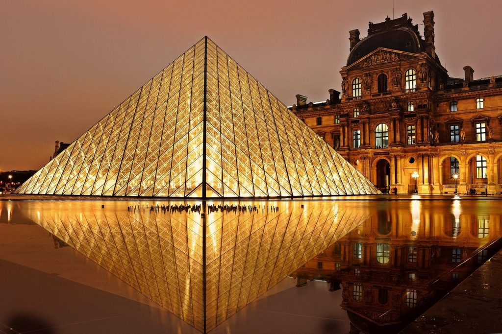 The Louvre glass pyramid in Paris