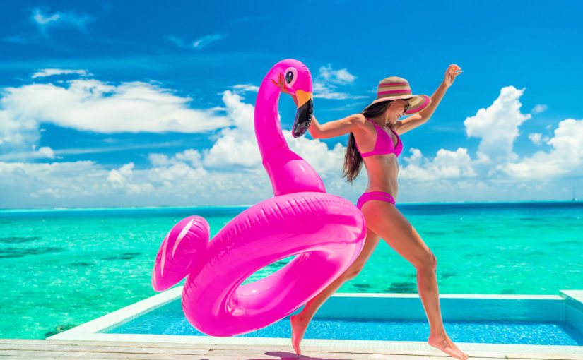 woman with pool inflatable