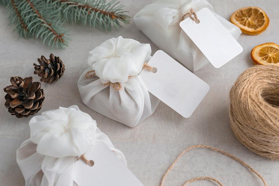 Homemade Christmas gifts, wrapped using furoshiki fabric