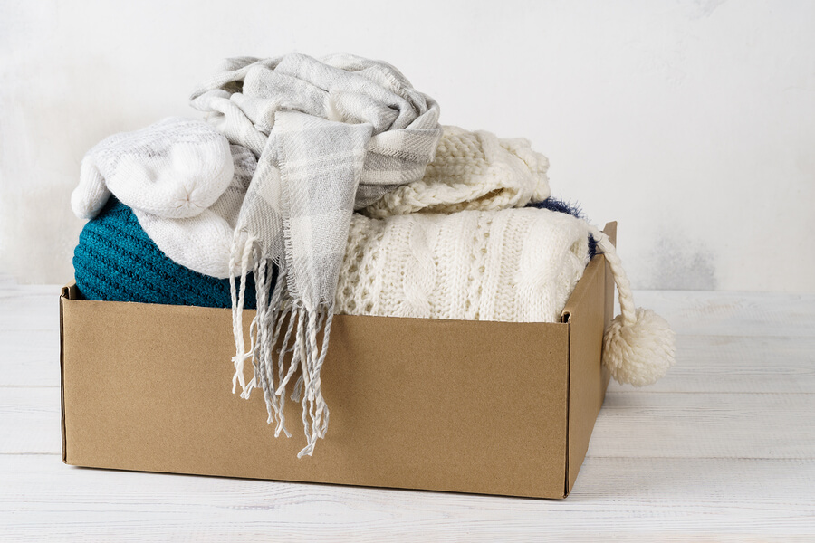 A box of hire clothes to tackle fast fashion
