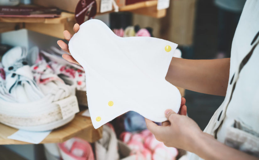 A cloth menstual pad in a zero waste shop