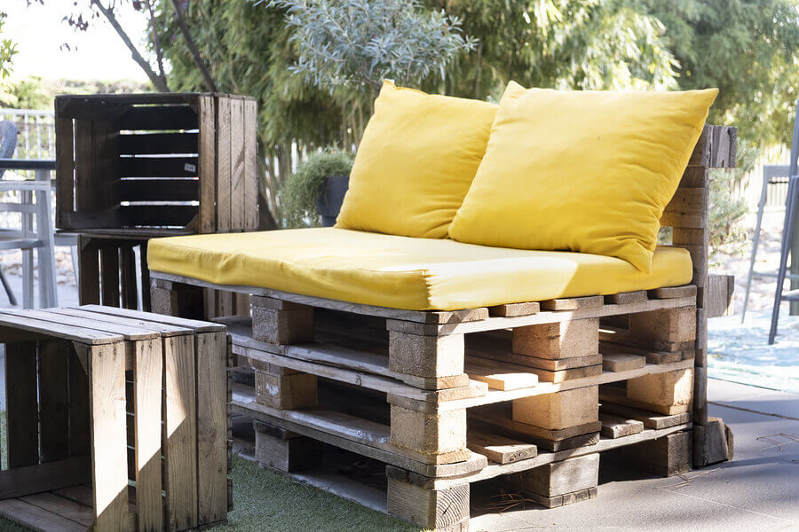 Upcycled seating from wooden pallets