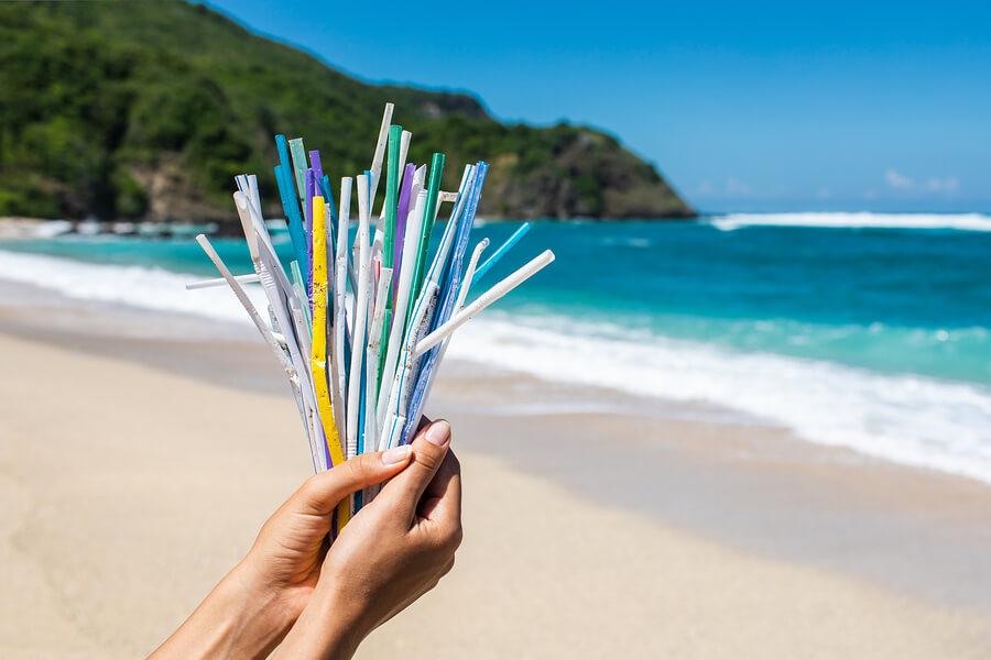 Plastic straws being held by the ocean.