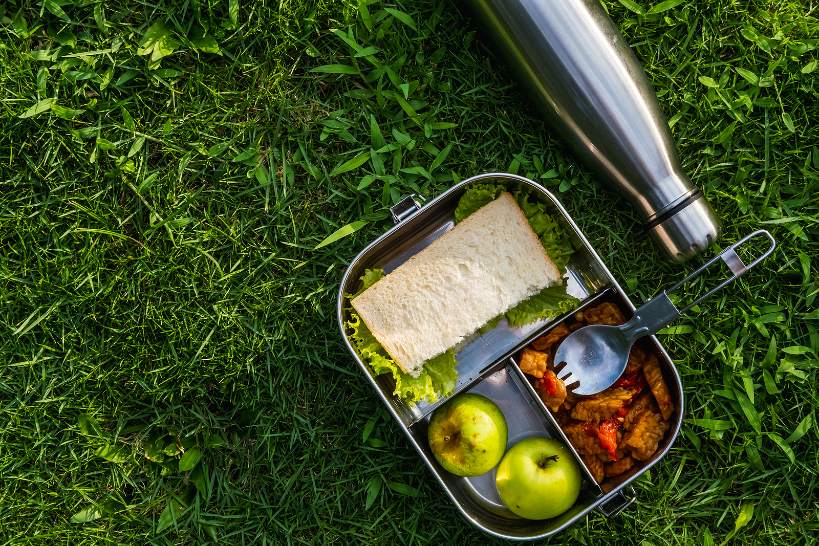 A stainless steel eco-friendly lunchbox, spork and water bottle on the grass