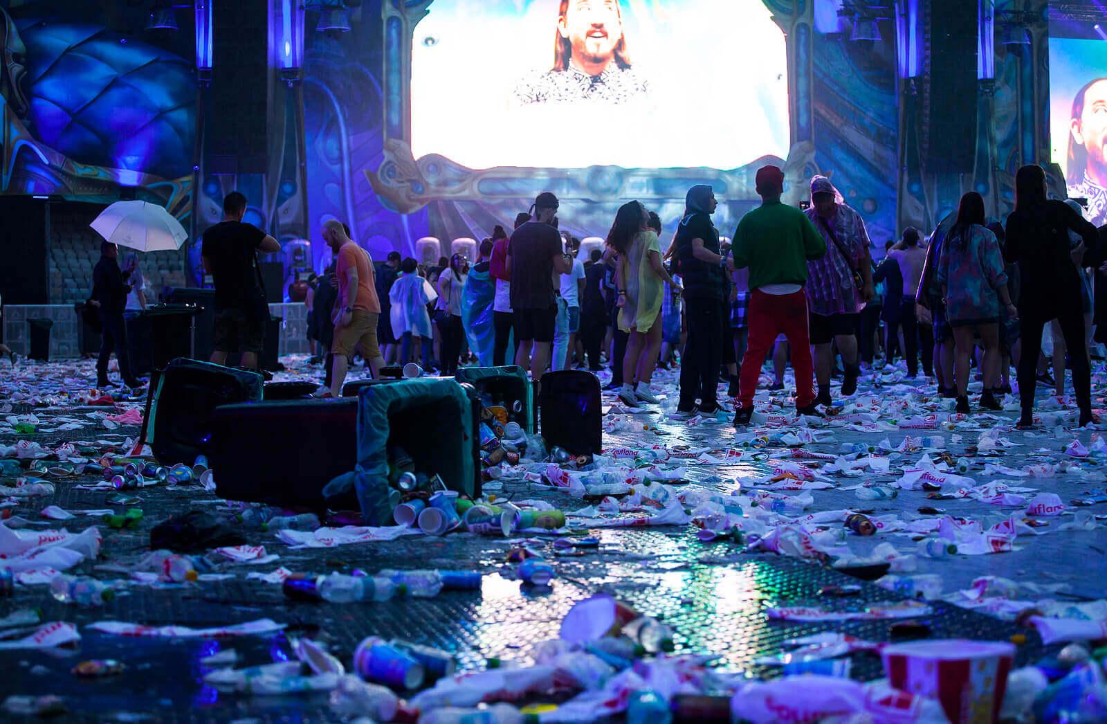 Waste on the floor at Untold Festival, Cluj-Napoca, Romania